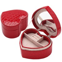 Travel Jewelry Case Pu Leather Heart Red Small Jewelry Gift Box