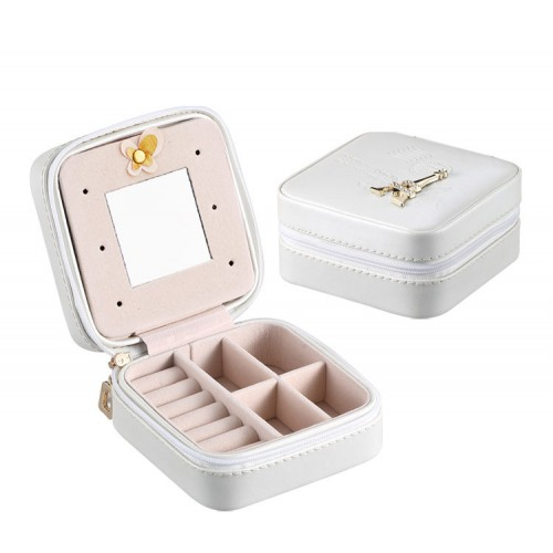 Travel Jewelry Case Faux Leather Small White Jewelry Gift Box