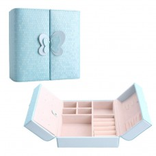 Travel Jewelry Case Faux Pu Leather Small Blue Jewelry Gift Box