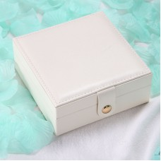 Travel Jewelry Case Pu Leather Square Small Jewelry Gift Box White
