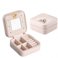 Women Jewelry Case Faux Leather Small Pink Jewelry Gift Box