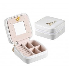 Women Jewelry Case Faux Leather Small White Jewelry Gift Box
